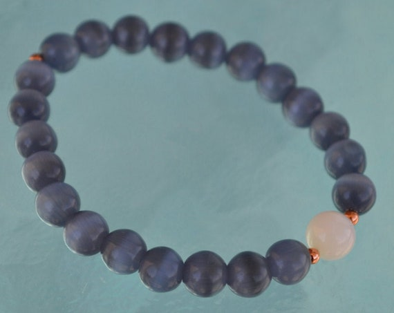 8mm Pure Mother of Pearl Grey Cat's eye Glass Beads bracelet