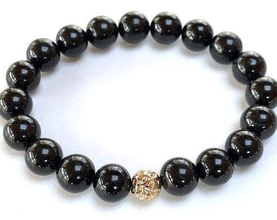 Black Tourmaline Bracelet || Gold Plated Basalt Lava & Tourmaline Bracelet || Protects from Negative Energy || EMF, Empath Protection ||