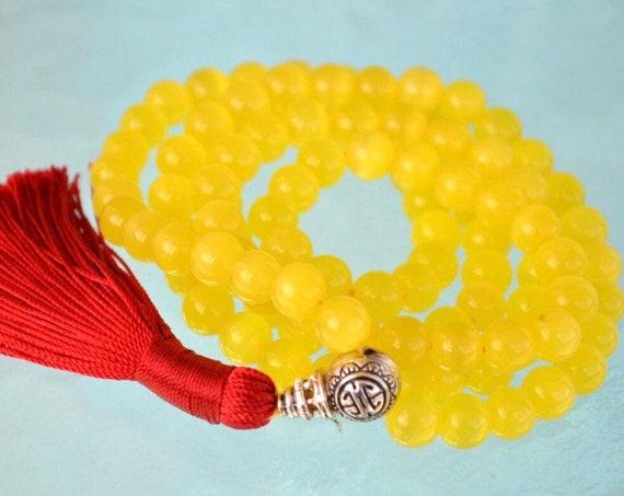 8mm Yellow Cat's eye Glass Beads Mala Necklace 108 Prayer BeadsChristmas