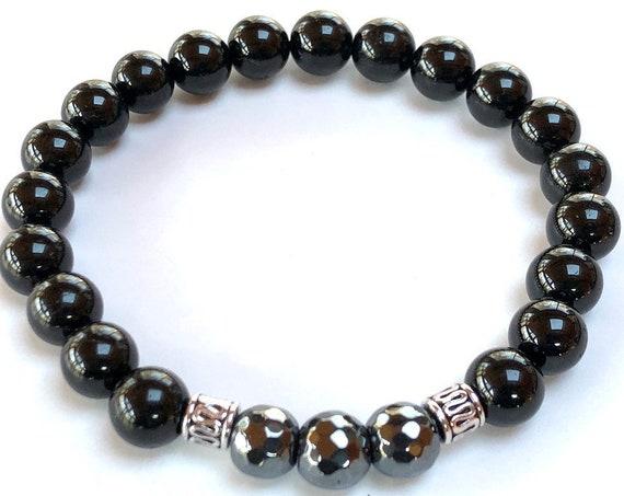 Mens bracelet Man bracelet Black Tourmaline bracelet Hematite bracelet Birthday gifts for husband anniversary gifts for him son