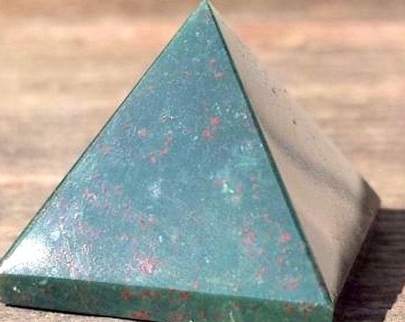 Healing Crystals and Stones Bloodstone Chakra Pyramid, Rose Quartz Clear Quartz Tourmaline Gemstone Pyramid, tumbled stones pendulum, Reiki