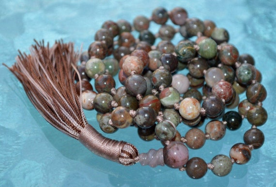 Picture Jasper 108 Knotted Mala Beads Necklace Quit Smoking, Clear toxins, Stimulates Immune system, Overcome Fear Mala, Connecting to Earth