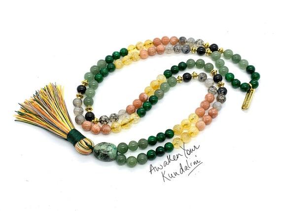 8 mm Energized Crystals of Luck, Good Luck crystal Mala Beads bracelet, Wealth Luck Citrine  Aventurine Chrysoprase Jade Sunstone Tourmilin