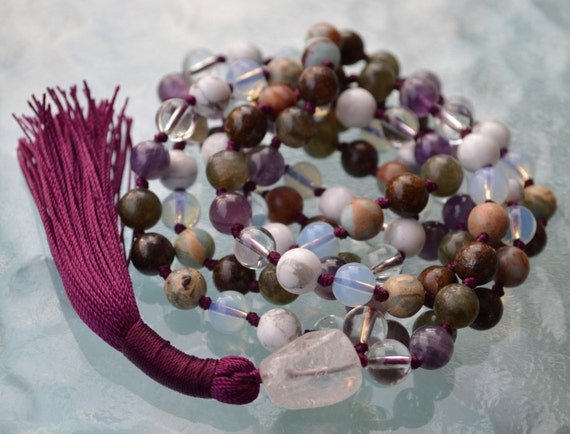 Seventh Chakra Rosary, Crown Chakra Mala, Hand knotted 108 Beads Necklace Cosmic Connection, Enlightenment, Divine Peace Oneness