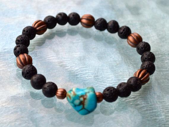 Mens Womens bracelet, Black Lava Stone bracelet, Turquoise  bracelet, Antique Gold bracelet, Mens bracelet, Energy bracelet