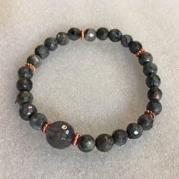 Labradorite Handmade Tibetan Mala Beads Healing Bracelet - For Intution, Psychic Abilities, Calming, Emotional & Chakra Balance