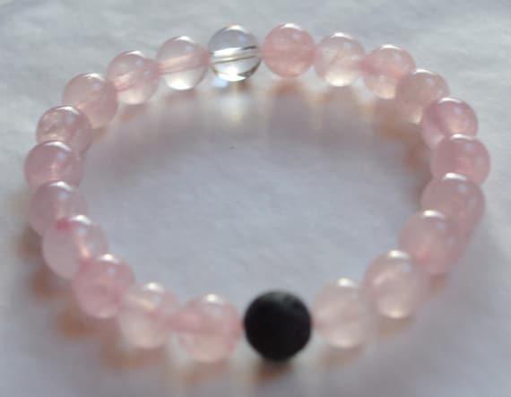 pink rose quartz lokai style bracelet rose quartz beaded gemstone bracelet charity for breast cancer memorial gift mom gifts for wife sister