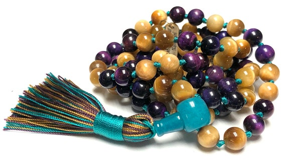 Yellow Tiger Eye and Purple Tigers Eye Mala Necklace 108 Protection Bead Necklace for men women 108 knotted mala necklace Tiger Eye Jewelry