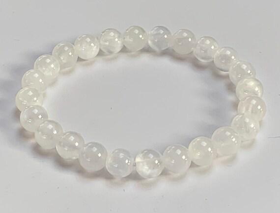 Natural Selenite Gemstone Bracelet Selenite Mala Beads Bracelet Crown Chakra Bracelet Reiki Yoga Mala AAA Grade 8mm bracelets for women