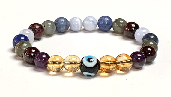 Crystals for Anxiety bracelet Calming Bracelet diffuser anxiety relief healing chakra yoga mens beaded protection wish evil eye mala bracele