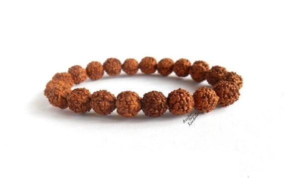 Energized Natural Rudraksha Mala beads bracelet, Rudraksha, Stretch Wrist bracelet, Mala Beads, Healing Bracelet - Blessed & Energized