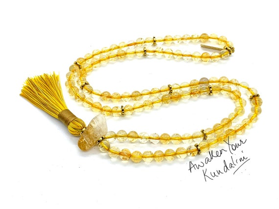 AAA Grade Citrine Mala Beads Simple Dainty Necklace, Gold Citrine Necklace, November Birthstone, Yellow Birthstone, Minimalist, Gift For Her