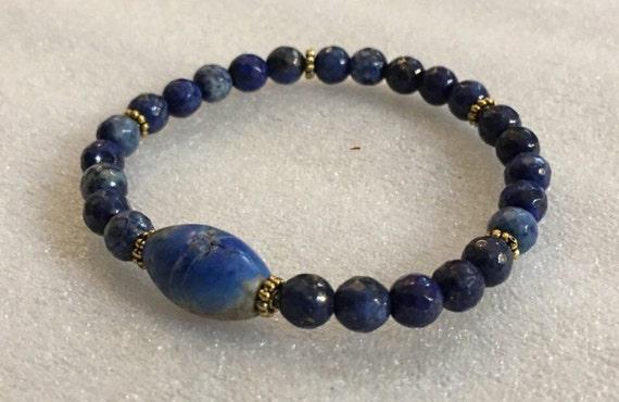 lapis lazuli wrist mala beaded bracelet jewelry gemstone mens women bracelets for truth healing friendship chakra crystal adjustable protect