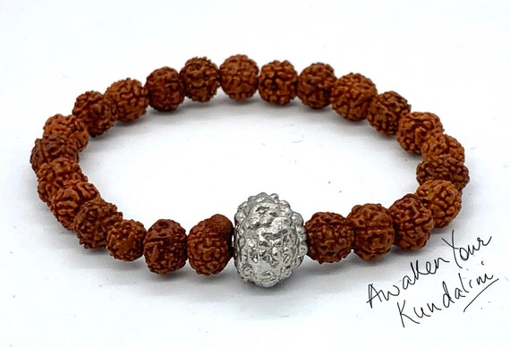 Ganesha necklace, Hindu Ganesh pendant, Rudraksha jewelry, Yoga gifts, Business success amulet, Shiva jewellery, real 5 Mukhi Rudraksh bead