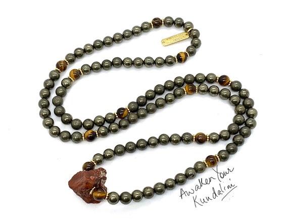108 Pyrite Tiger eye mala beads necklace protection necklace gemstone necklace beaded necklace gold necklace long boho mens energy necklace