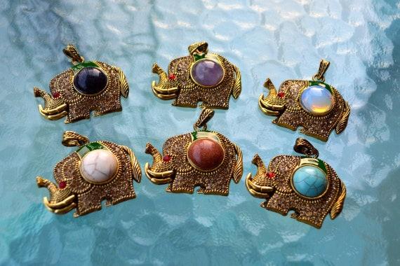 Elephant Necklace, Gold Elephant Pendant, Evil Eye, Indian Elephant, Protection Pendant Amulet, Gift For Her, Love Gift, Ethnic, Boho Style
