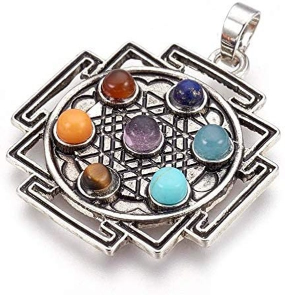 "Seven Chakra Gemstone Pendant Reiki Crystal Healing Stones Chakra Balancer - Zinc Alloy Silver/Polished  Sri Yantra Pattern 1.5x1.5"" Inch"