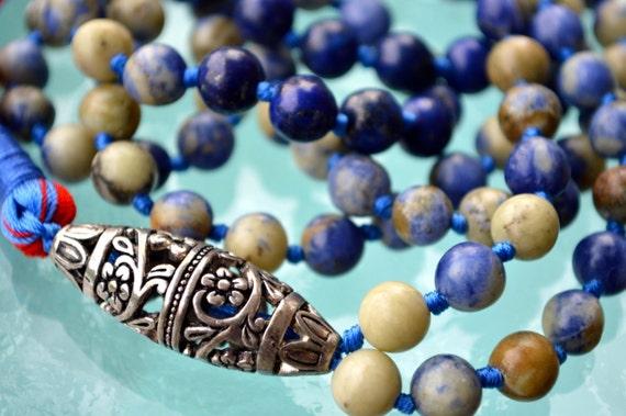 Sodalite 108 Hand Knotted Mala Buddhist Beads Necklace - Energized Karma Nirvana Meditation 8mm Prayer Beads For Awakening Chakra Kundalini