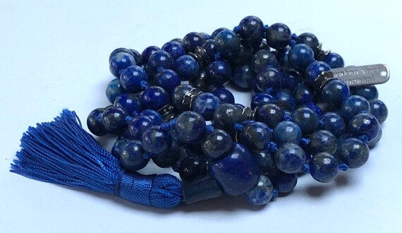 108 lapis lazuli mala beads necklace yoga bracelet gift mens jewelry anniversary gifts spiritual reiki healing crystal stones knotted mala