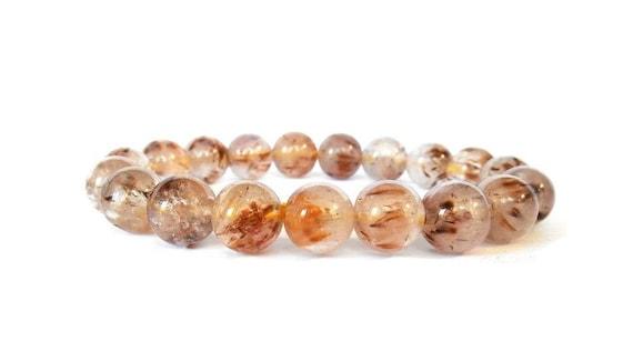 Cacoxenite in Quartz Gemstone Stretch Bracelet Stone Jewelry Gift for Her Crystal Bracelet, Mens Bracelet Gift for Him, Girlfriend Gift