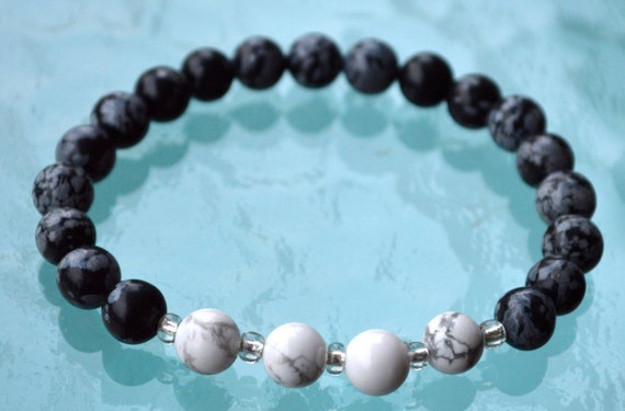 Snowflake Obsidian & Howlite Handmade Karma Mala Beads Bracelet - Stimulates Concentration, Sexual Tensions Absorbs Anger Dippression
