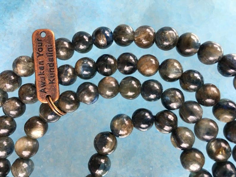 6-7 mm AAA Grade Kyanite Mala Beads Necklace Kyanite knotted Healing Mala Beads Energized 108 Genuine Kyanite Gemstone Ma kyanite Jewelry