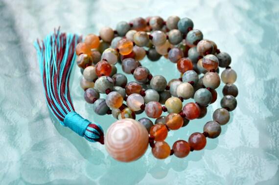 108, Amazonite, Turquoise, Hand Knotted, Mala, Beads, Necklace - Karma, Nirvana, Meditation 8mm, Prayer Beads, For Awakening, Chakra