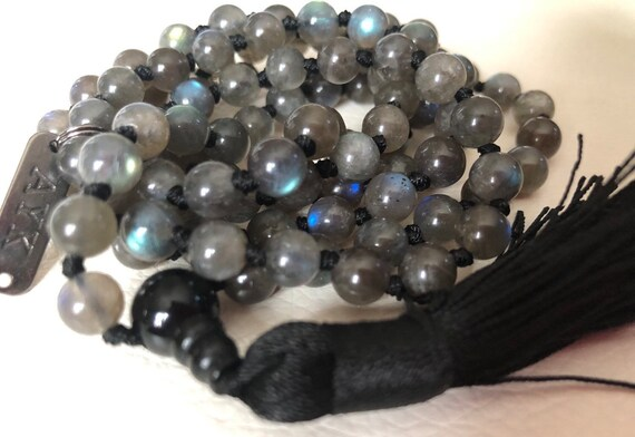 Natural AAA Grade Labradorite Hand knotted Mala Beads Necklace  Blessed Energized Karma Nirvana Meditation 108 Prayer Beads Healing crystals