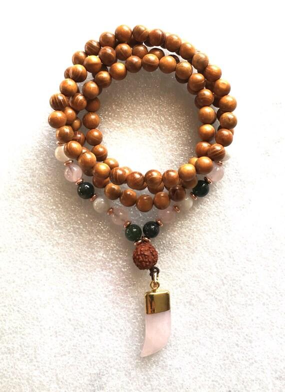 Heart Chakra wooden Rose Quartz Jade Moonstone 108 Wrap Mala - Unconditional love Openness Balance Forgiveness Trust Compassion Insomnia