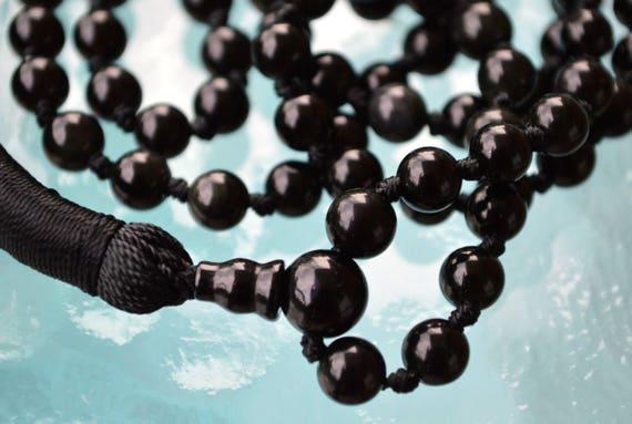EMPATH EMF PROTECTION Black Tourmaline Necklace Knotted Tassel Mala Tourmaline Mala Prayer Beads 108 Meditation Mala for Empaths Yoga Beads