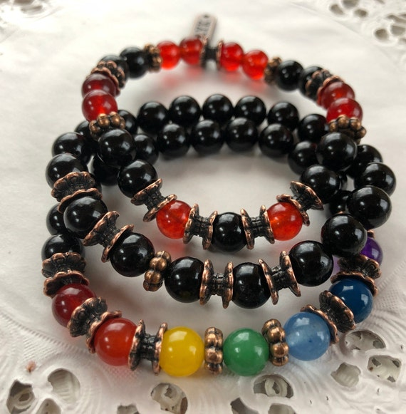 7 chakra healing crystals beaded bracelet yoga jewelry 7 chakra bead wrap bracelet 7 chakras bracelet crystal gemstone gifts for him her bff