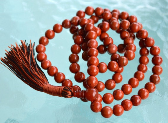 Natural Genuine 8 mm Red Jasper Mala beads Necklace Grounding,Root Chakra healing, Stability, Physical need, Aids Sexual life,Security