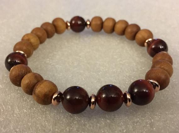 8mm sandalwood bracelet with strawberry quartz amethyst or green prehnite tube bead, sandalwood w amethyst, sandalwood w prehnite bracelet