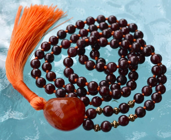 108 Energized Genuine Garnet Mala bead Necklace Grounding, Stability, Physical need, Aids Sexual life, Security, Survival,Manifestation, Cen
