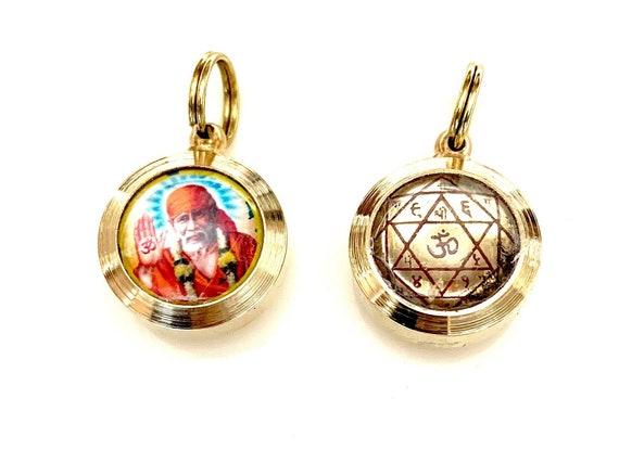 Sri Shirdi Sai Baba Yantra Energized Divine Kavach Amulet Pendant -Energized Engraved Enameled Laminated Yantra For Good fortune & Peace