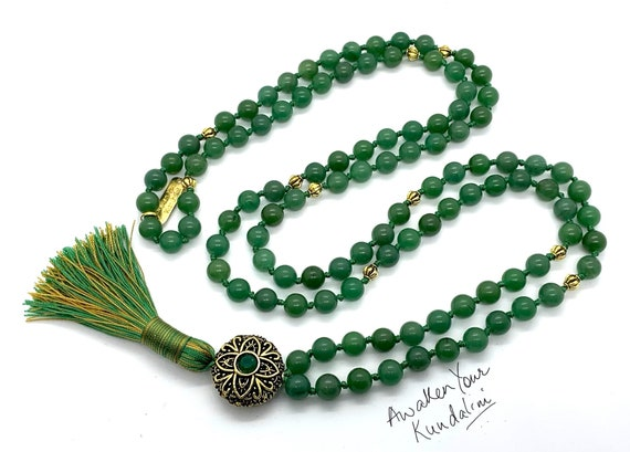Heart Chakra Green Aventurine Knotted Necklace Aventurine Mala 108 Beads chakra healing crystals Unconditional love Understanding Openness