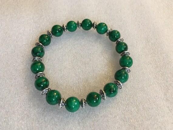 Green Jade Beads, Bracelet, Calming, Wrist Mala, Chakra Bracelet, Energized Bracelet, 8 mm, Healing Bracelet, Buddhist Beads Bracelet