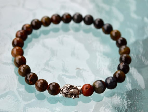 8mm Tiger Eye Jasper Budha Wrist Mala Beads Healing Bracelet - For Luck Prosperity Enhance Confidence, Insomnia, Improves Creativity, Peace