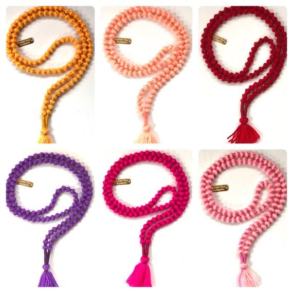 Handmade Knotted Light Weight Wool Japa Mala, Ram Sharnam Japa Mala, 7-8 mm Wool Mala, Very Light Weight Jaap Jap Mala Beads Necklace