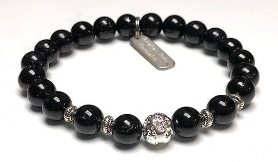 Raw Black Tourmaline Bracelet Psychic Attack Protection Empath Protection Disperse Negative Energy Positivity Gemstone Bracelet Lava Bracele