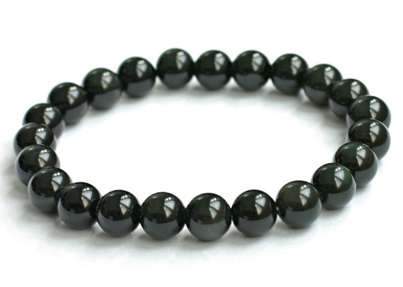 Natural Stone Black Obsidian Bracelet-Healing Crystal Energy Lucky Bracelet-Spiritual Meditation Grounding Yoga Bracelet