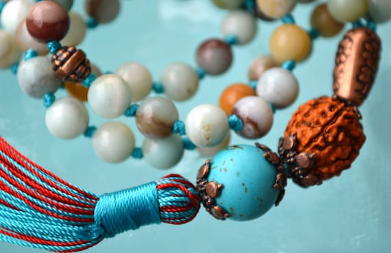 Cyber Monday Sale Amazonite & Turquoise Tibetan Hand Knotted Jaap Mala Beads Necklace -Energized Karma Nirvana Meditation 8mm Prayer B