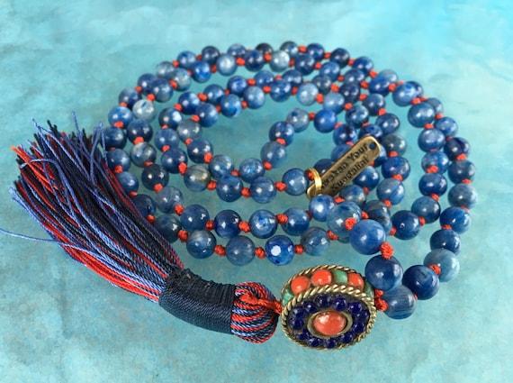 7 mm AAA Grade Kyanite Mala Beads Necklace, kyanite Jewelry, Kyanite knotted Healing Mala Beads, Energized 108 Genuine Kyanite Gemstone Mala