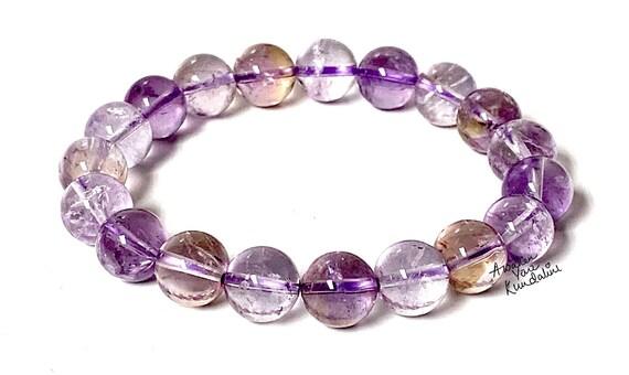 AAA Ametrine 10mm Naturale Ametrine Bracelet, Ametrine Cristal, Gemstone Stretch Bracelet, Delicate Ametrine Jewelry, Bracelet Women Chakra