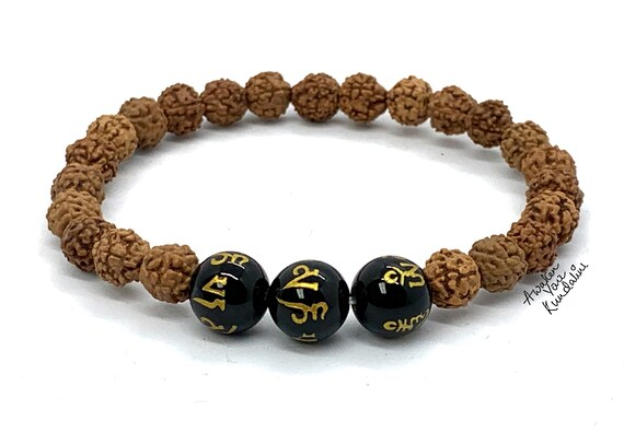 Rudraksha Mala Beads Bracelet, Om Mani Padme Hum Small Shiva Tears: Genuine Rudraksha , Rudrakash Bracelet, Natural Indian Rudraksha Jewelry