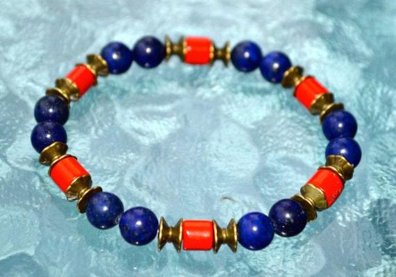 Red Bamboo Coral Lapis Lazuli Wrist Mala 8mm Beads Healing Bracelet - Blessed Karma Nirvana Meditation Prayer Beads for Awakening Chakra