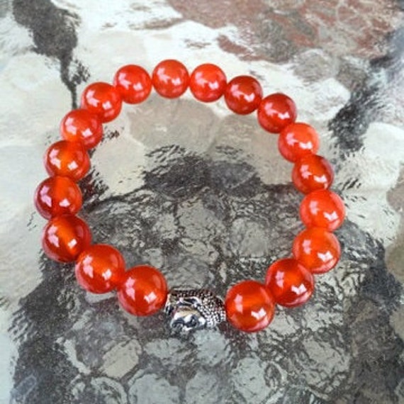 8mm Carnelian Wrist Mala Beads Healing Bracelet - Blessed Karma Nirvana Meditation Prayer Beads for Awakening Chakra Kundalini