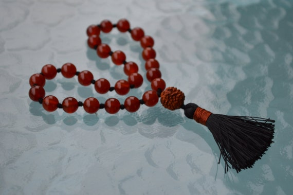 Rudraksh and Carnelian Pocket Mala, Carnelian Quarter Mala Beads - Positive Energy, Guards against Negative vibes, Poverty, Calms the temper