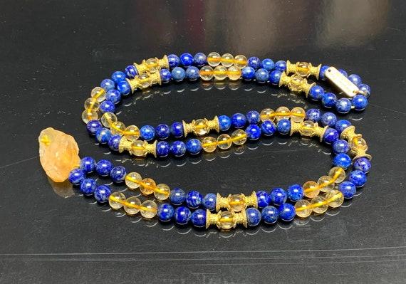 Energized AAA Grade Citrine Lapis Lazuli Mala Necklace 108 Buddhist Yoga Meditation Mala Tibetan Mala Prayer Beads son gift for brother men