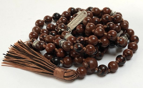 mahogany obsidian knotted mala beads necklace gemstone necklace crystal pendant necklace for men beaded mens burgandy necklace boho black